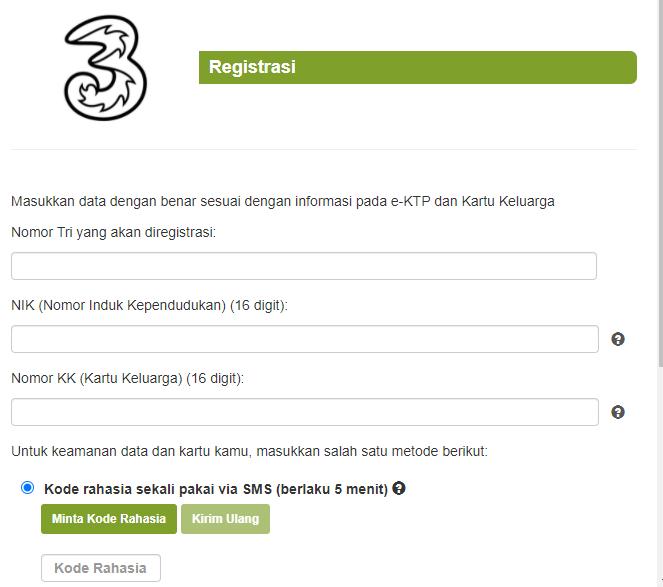 Cara Registrasi Kartu Tri 3 Menggunakan Website Resmi